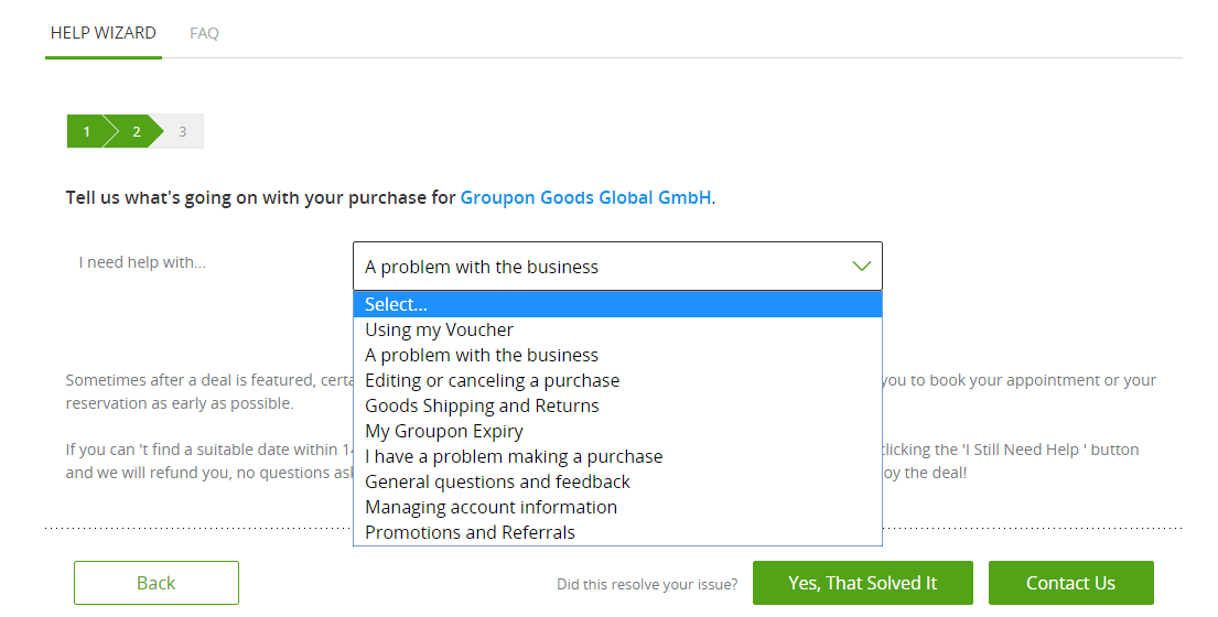 groupon help wizard and faq